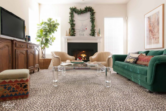 When you have a green velvet sofa, it doesn't take too many other touches to get the living room ready for the holidays!