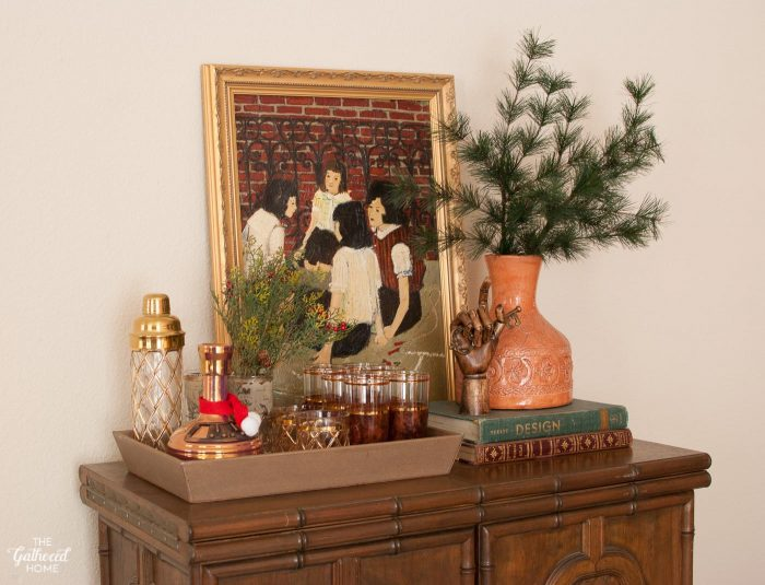 Set up a cheerful holiday bar area with a few Christmas-y touches!