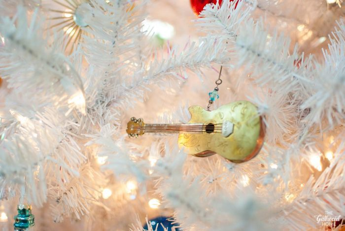 Copper and brass guitar Christmas ornament