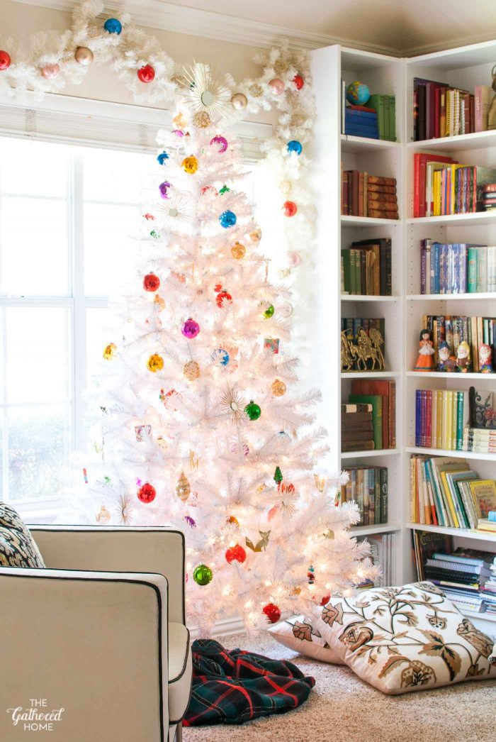My favorite: a white Christmas tree with pops of color and metallics!