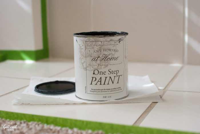 DIY painted tile fireplace surround using Amy Howard at Home One Step Paint