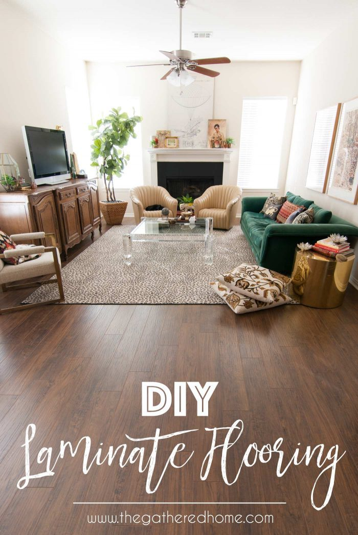 Thinking of laminate flooring? You won't want to miss this post! It's full of information on how one woman tackled 1,000 square feet of flooring herself... From concrete subfloor leveling to laying the laminate planks, it's all in this post! Pin for later!