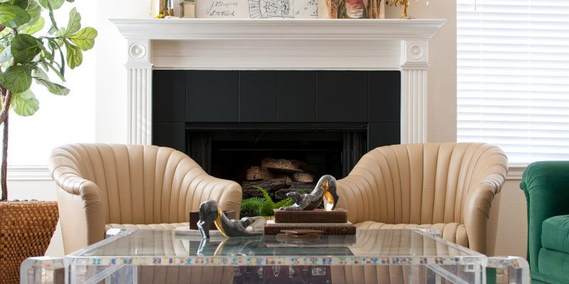DIY Painted Tile Fireplace Surround