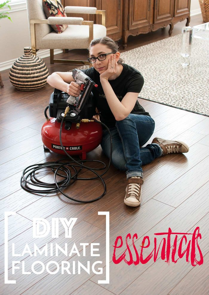 Thinking of tackling DIY laminate flooring? You won't want to miss this post full of all the tools and supplies you'll need from start to finish - from subfloor prep to molding installation!