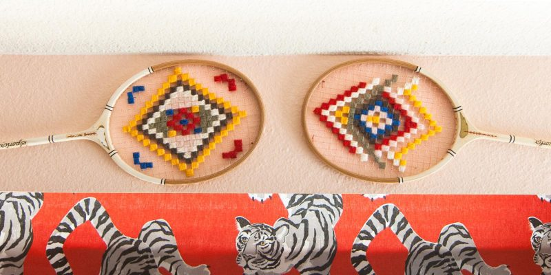 Inspired by Wes Anderson: DIY Vintage Tennis Racket Wall Hangings
