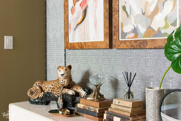 Safari combination - alligator wall + vintage leopard statue + the perfect abstract art prints from Minted.com