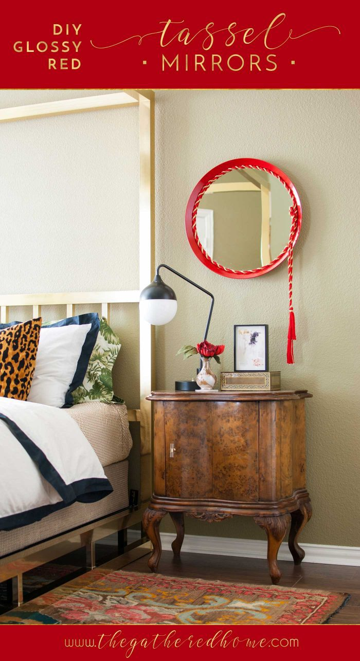 Update simple Ikea mirrors with a glossy paint finish and a striking tasseled cord accent!