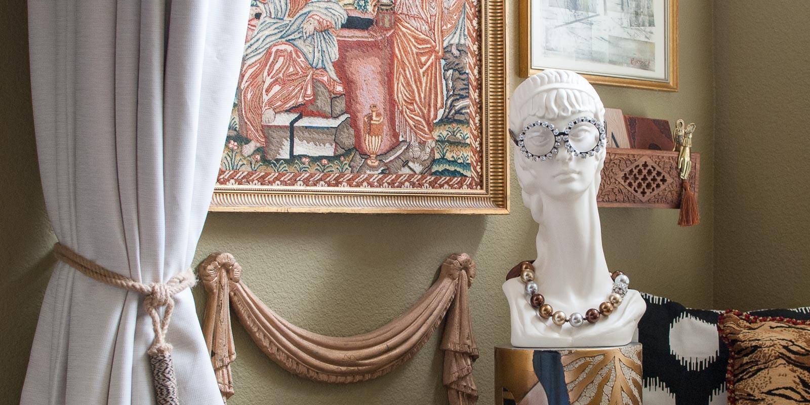 Inspired by iris apfel master bedroom gallery wall for Bedroom gallery wall