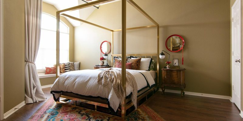"Master Bedroom Reveal: A Khaki & Gold ""Loft"" Space"
