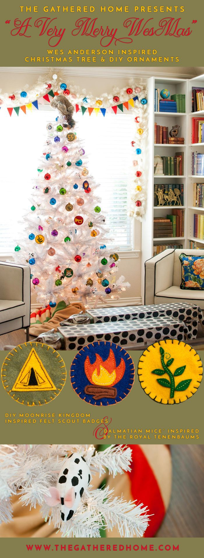 "Calling all Wes Anderson fans! This colorful and whimsical Christmas tree incorporates inspiration from Moonrise Kingdom and The Royal Tenenbaums. Get all the details for the DIY vintage scout badge ornaments and little ""dalmatian mice"" here in the post."