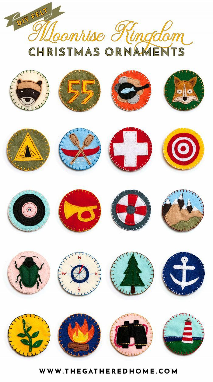 Calling all Wes Anderson fans -- this blogger made a set of DIY felt vintage scout badge ornaments inspired by the Khaki Scouts in Moonrise Kingdom! Must see!