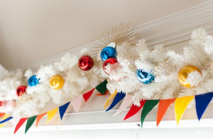 DIY felt pennant banner Christmas garland.
