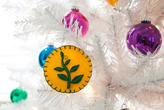 DIY vintage scout badge Christmas tree ornament with leaf, inspired by Moonrise Kingdom | The Gathered Home